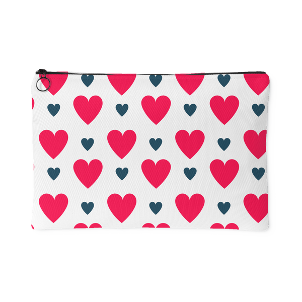 RED and BLUE Hearts Accessory Pouch - 2 Sizes to choose from