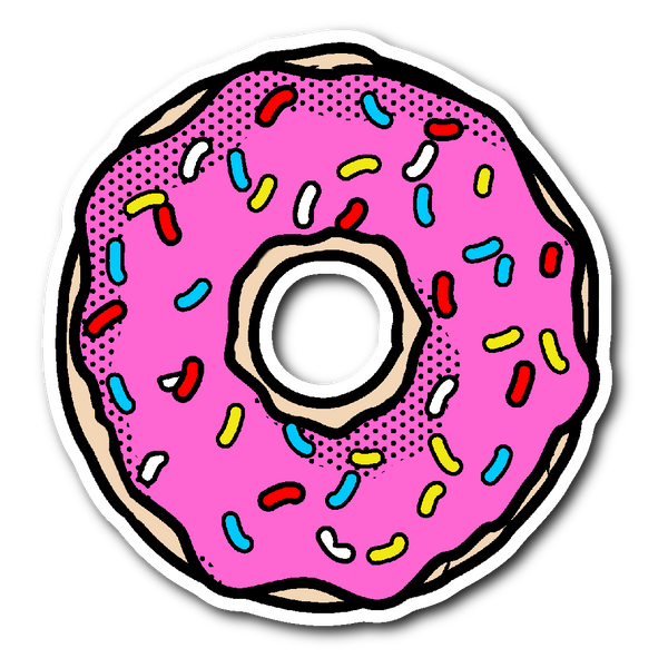 PINK FROSTED DONUT WITH SPRINKLES Vinyl Die Cut Sticker