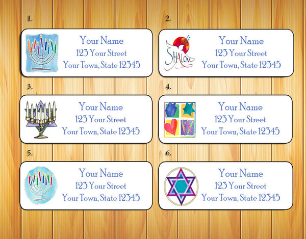 Personalized HANUKKAH Return ADDRESS Labels - J & S Graphics
