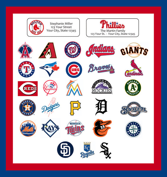 Personalized MLB Address Labels Baseball Return Address Labels, Sports Teams - J & S Graphics
