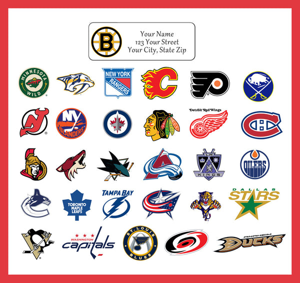 Personalized NHL Address Labels Hockey Return Address Labels, sports teams - J & S Graphics