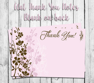 image regarding Printable Thank You Note identified as Purple BROWN FLORAL THANK On your own Observe Playing cards, Electronic Printable, Fast Obtain