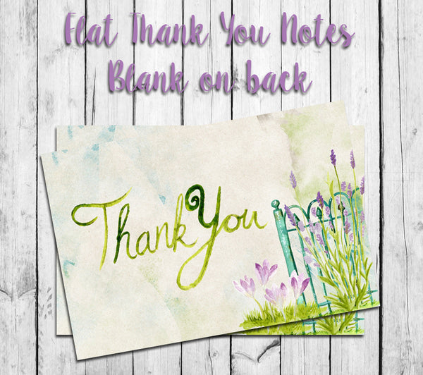 Watercolor Garden Gate THANK YOU Note CARDS, Digital Printable, Instant Download