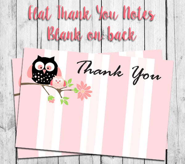 Pink Stripes with OWL THANK YOU Note CARDS, Digital Printable, Instant Download