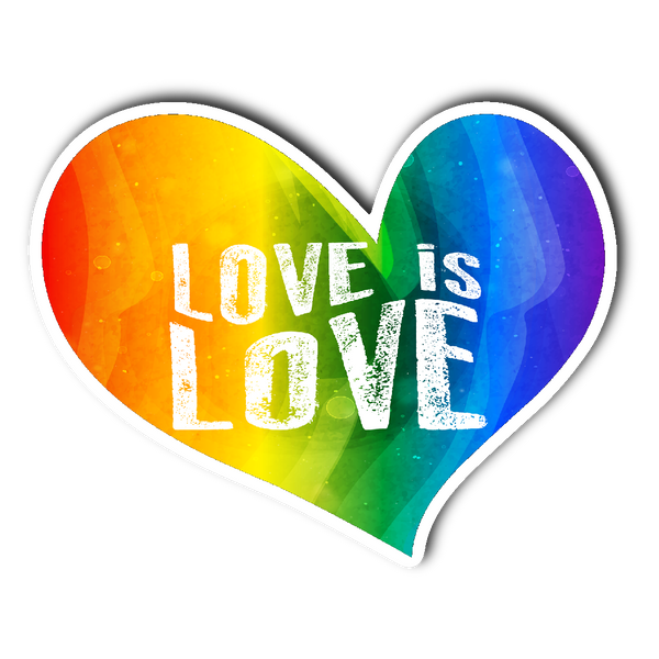 LOVE is LOVE Rainbow Heart Vinyl Die Cut Sticker