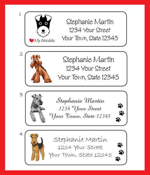 AIREDALE and I LOVE my AIREDALE Personalized Return ADDRESS Labels, Airedale Terrier - J & S Graphics