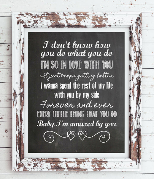 "AMAZED - Lonestar Song Lyric Quote Digital ""Faux Chalkboard"" Design Typography Wall Decor INSTANT DOWNLOAD - J & S Graphics"