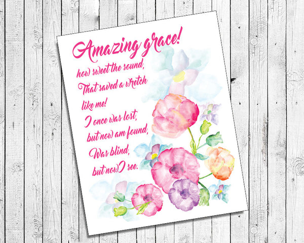 AMAZING GRACE 8x10 Wall Art Decor INSTANT DOWNLOAD, Floral Design
