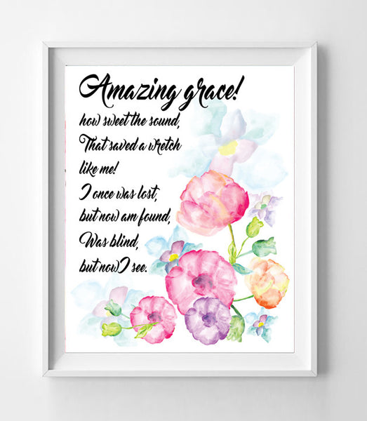 AMAZING GRACE 8x10 Wall Art Decor INSTANT DOWNLOAD, Floral Design - J & S Graphics