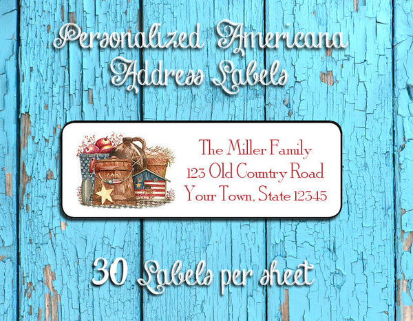Personalized AMERICANA Grouping Design Return ADDRESS Labels - J & S Graphics