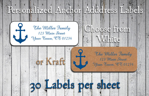 ANCHOR Address Labels, Personalized Return Address Labels, Nautical. Wedding, Newlyweds, Shower, Sets of 30 - J & S Graphics