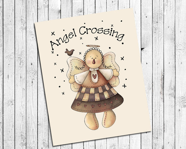 ANGEL CROSSING Typography Prim Wall Decor Art, Ivory Background, Instant Download - J & S Graphics