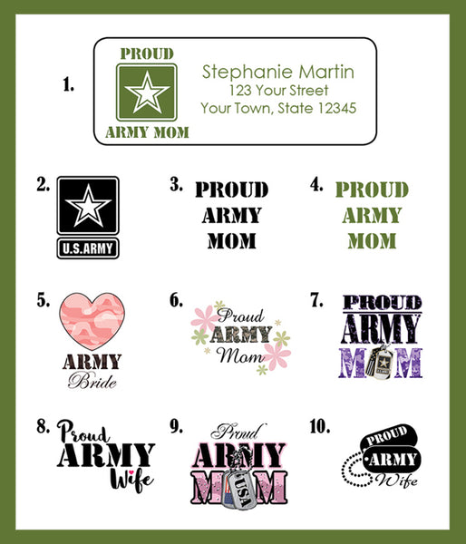 ARMY MOM, ARMY BRIDE or ARMY WIFE Personalized Return Address LABELS - J & S Graphics