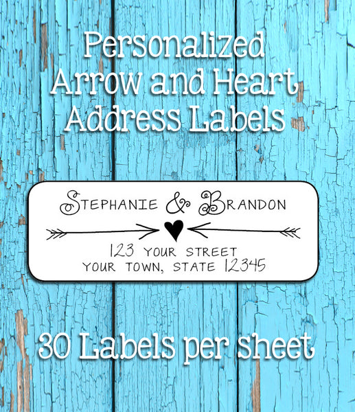 ARROWS and HEART Personalized Address Labels, Return Address Labels, Wedding, Newlyweds - J & S Graphics