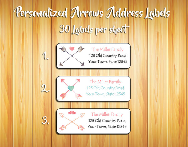 Personalized Crossed ARROWS and HEARTS Return ADDRESS Labels - J & S Graphics