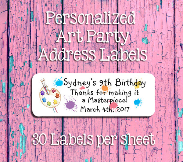 ART BIRTHDAY Party Personalized Favor Labels, Return Address Labels - J & S Graphics