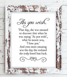AS YOU WISH - Princess Bride Movie Quote 8x10 Typography Wall Art Poster PRINT - J & S Graphics