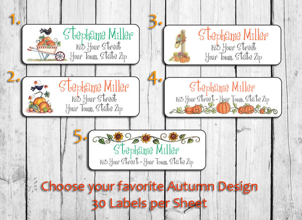 Personalized AUTUMN, FALL Return Address LABELS - J & S Graphics
