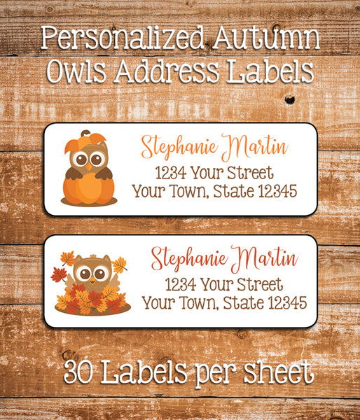 Personalized OWL Address Labels AUTUMN, FALL Return Address LABELS