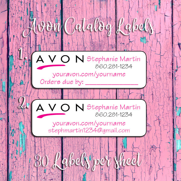 Personalized AVON Labels, Avon Representative Campaign Brochure or Address LABELS