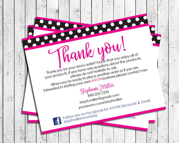 AVON Representative THANK YOU Note CARDS, Digital Printable, Personalized - J & S Graphics