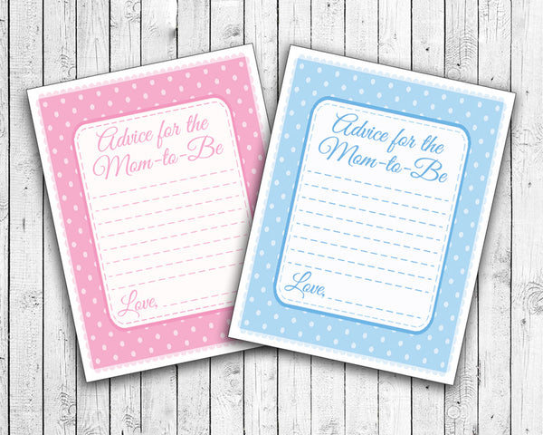 BABY ADVICE CARDS Baby Shower Fun, Instant Download Digital File, Pink or Blue