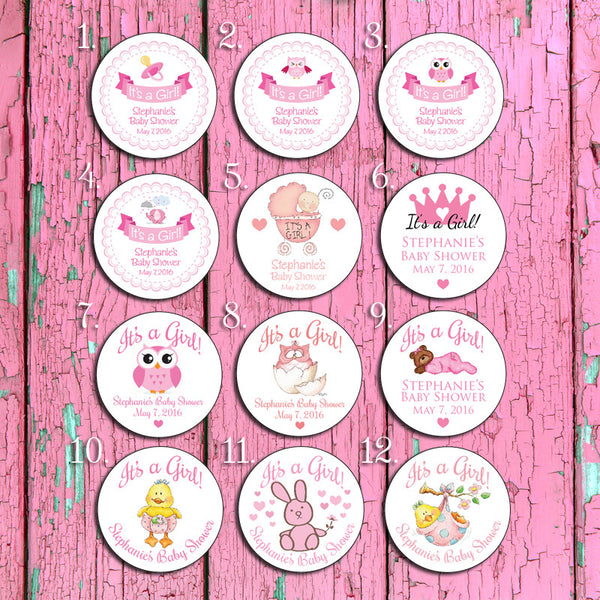 "IT'S A GIRL 2"" Round Custom Labels - 20 per sheet - J & S Graphics"
