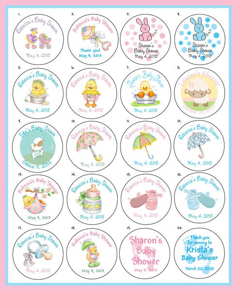 "Baby Shower 2"" Round Personalized Custom Labels - 20 per sheet - J & S Graphics"