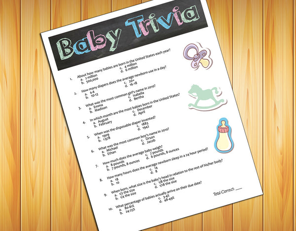 BABY TRIVIA Baby Shower GAME, Instant Download Digital File, Chalkboard Design - J & S Graphics