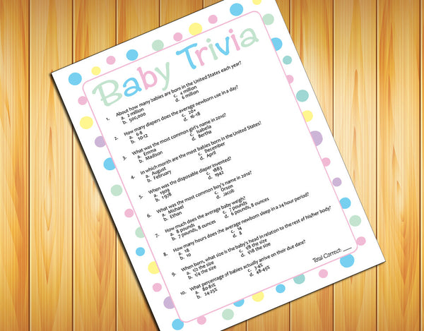 BABY TRIVIA Baby Shower GAME, Instant Download Digital File, Polka Dot Design - J & S Graphics