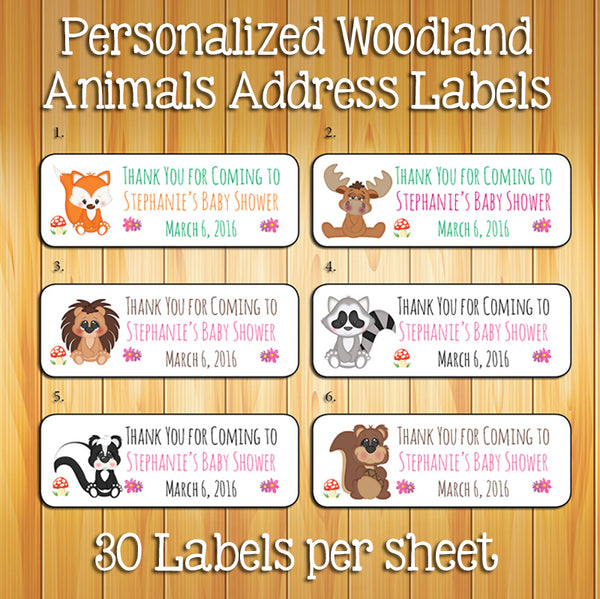 Baby Woodland Animals LABELS, 30 Personalized BABY SHOWER Favor Labels - J & S Graphics