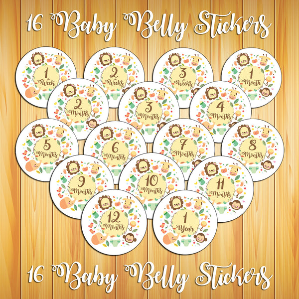 "4"" Round BABY BELLY Stickers ~ Monthly Baby Milestone Stickers ~ Jungle Animals"