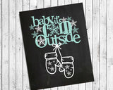 BABY, IT'S COLD OUTSIDE Faux Chalkboard Design Wall Decor, Instant Download, Winter, Mittens - J & S Graphics