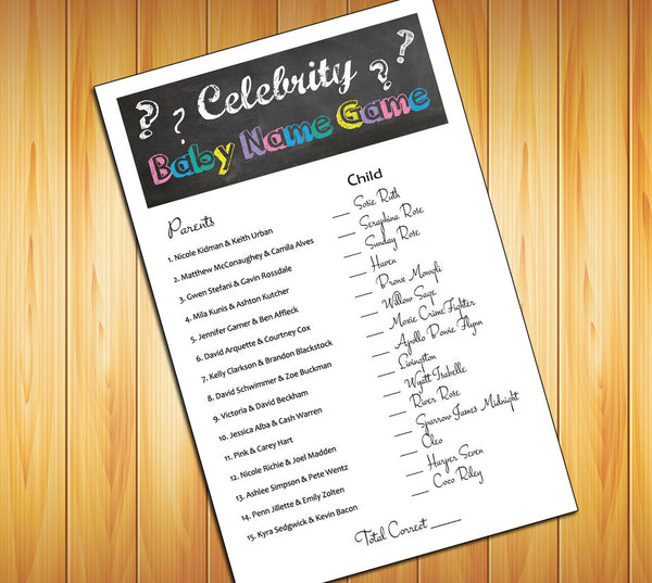 Celebrity Baby Name Baby Shower GAME, Instant Download Digital File, Chalkboard Design - J & S Graphics