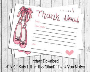 image relating to Fill in the Blank Thank You Cards Printable called Childrens THANK Yourself Take note Playing cards, Electronic Printable, Small children Printable Fill inside of the Blank, Ballet Slippers