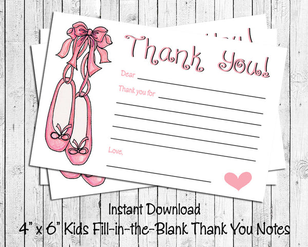 Children's THANK YOU Note CARDS, Digital Printable, Kids Printable Fill in the Blank, Ballet Slippers - J & S Graphics