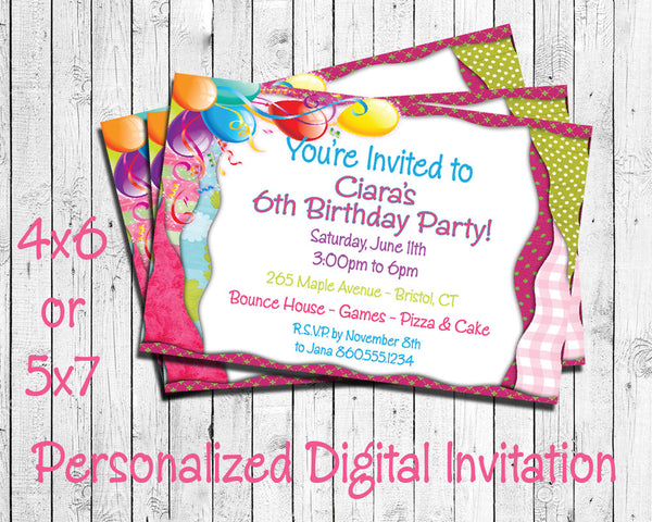 Printable Balloon Theme Personalized Birthday Party Invitation - DIGITAL FILE - J & S Graphics