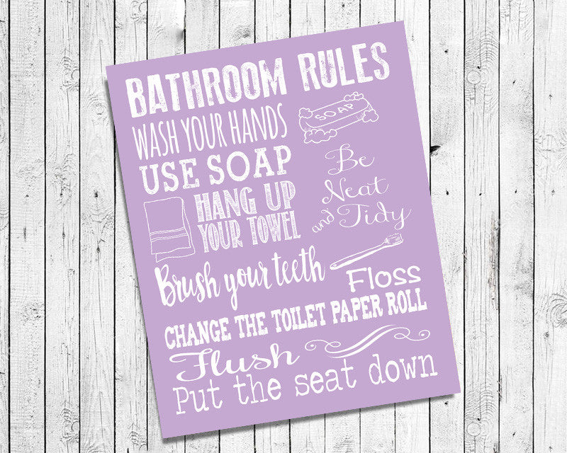 Instant Download BATHROOM RULES 8x10 Poster Choice of 8 Colors – J