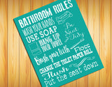BATHROOM RULES 8x10 Typography Art Print, Choice of 8 Colors - J & S Graphics