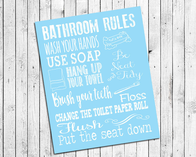 Instant Download BATHROOM RULES 8x10 Poster Choice of 8