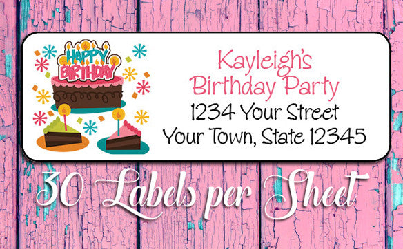 BIRTHDAY Themed Personalized Address Labels, Family Return Address Labels - J & S Graphics