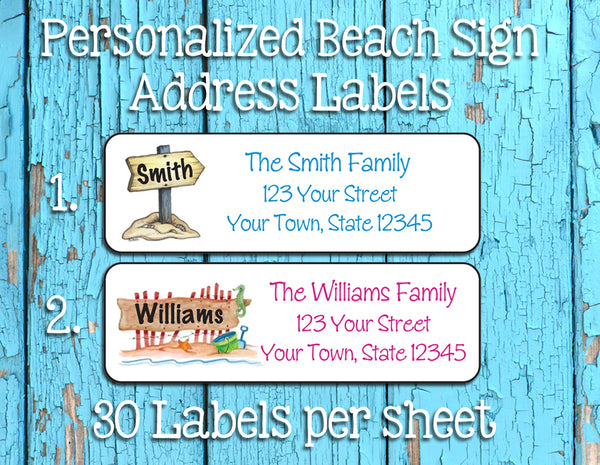 Personalized Custom BEACH SIGN Return Address Labels, Family Name - J & S Graphics