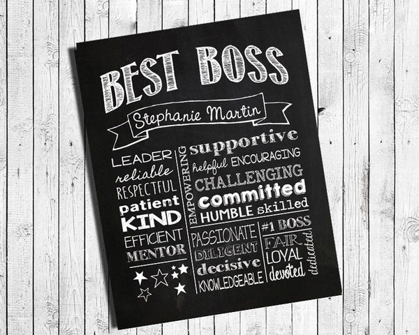 Personalized Gift for Boss Digital Printable Wall Decor Gift - DIY - J & S Graphics