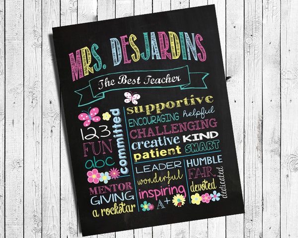 Personalized Gift for Teacher Appreciation 8x10 Wall Decor Gift Print