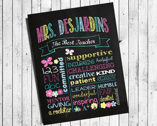 Personalized Gift for Teacher Appreciation Digital Printable Wall Decor Gift - DIY - J & S Graphics