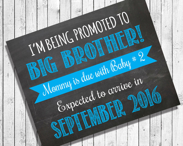 Pregnancy Announcement Photo Prop, 8x10 Personalized Big Brother Print - J & S Graphics