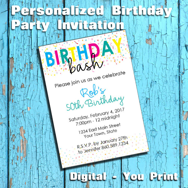 Printable Birthday Bash Personalized Party Invitation, Confetti - DIGITAL FILE - J & S Graphics