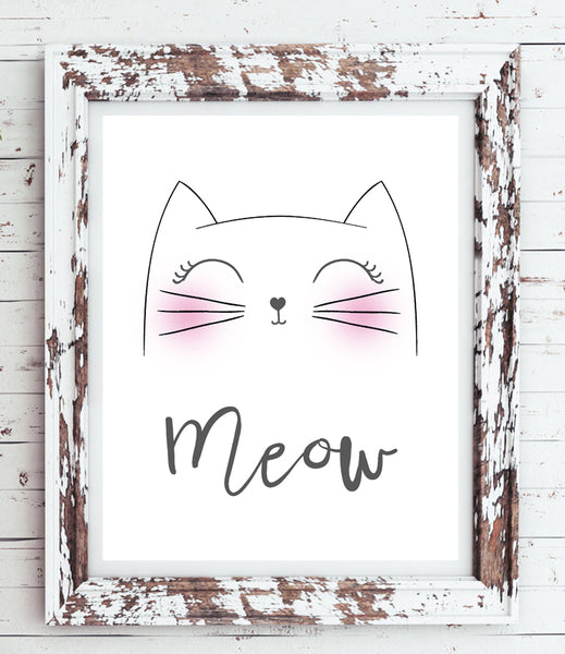 MEOW Kitty Face 8x10 Typography Wall Decor, Printable Instant Download, Cat, Kitten, Whiskers
