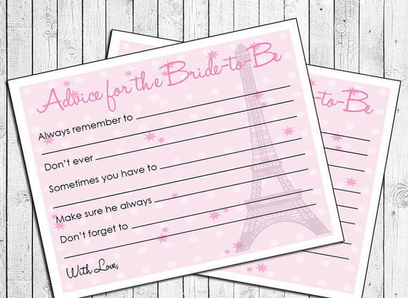 Advice Cards for Bride-to-Be, Instant Download - Bridal / Wedding Shower Fun - Pink or Paris Design - J & S Graphics