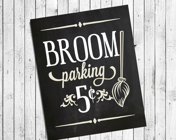 "BROOM PARKING Digital ""Faux Chalkboard"" Design Typography Art Print, Fun Halloween or Everyday Decor"